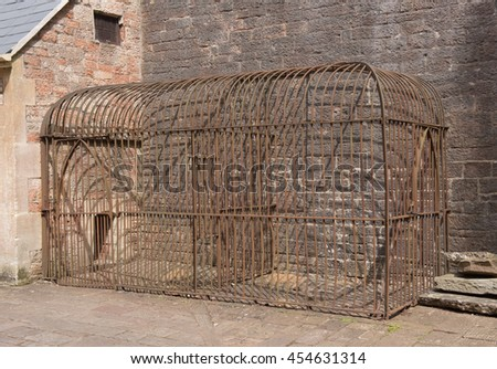 Victorian Dog Run and Cage in the Rural Village of Wraxall in Somerset, England, UK
