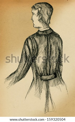 Victorian gentleman's back, freehand - stock photo