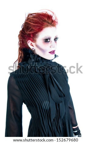 Victorian ghost of a pretty young woman with red hair - stock photo