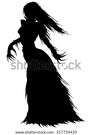 Victorian ghost or a vampire woman silhouette. Abstract woman with long hairs and curved fingers in a ball gown with ragged edges - stock photo