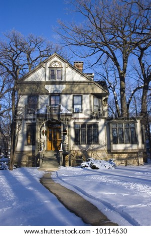 Victorian House in Chicago suburbs. - stock photo
