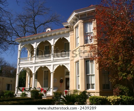 Victorian house in the King William historic district in San Antonio Texas - stock photo