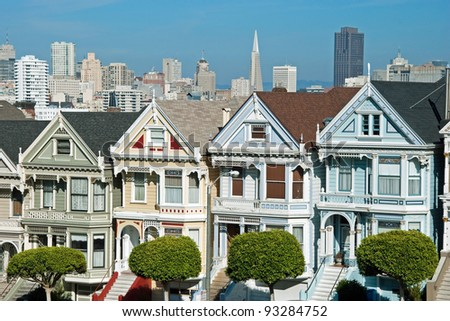 Victorian houses painted ladies in San Francisco near Alamo Square