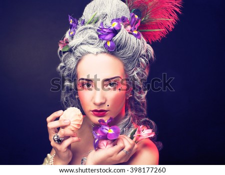 Victorian lady. Young woman in eighteenth century image. - stock photo