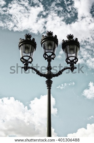 Victorian lamp post standing - stock photo
