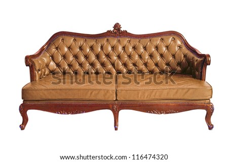 Victorian Leather Sofa In White Grunge Room