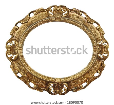 victorian oval gilded frame with floral carving over white