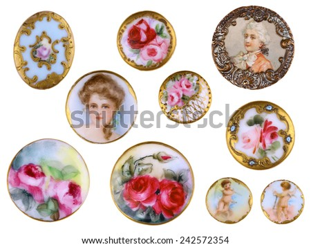 Victorian Porcelain Shirt Buttons c1890 - stock photo