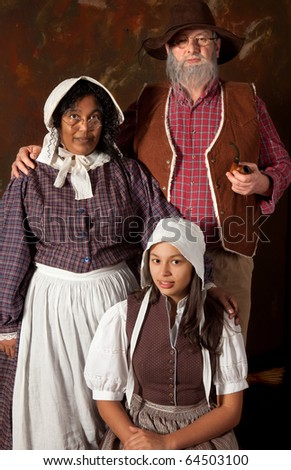 Victorian portrait of a colonial peasant family of the 17th century - stock photo