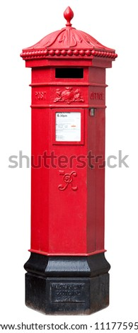 Victorian Postbox isolated on White with clipping path - stock photo