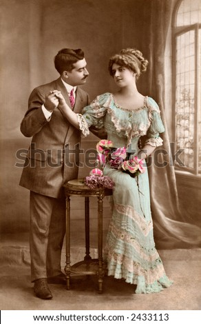Victorian romance - couple in love - circa 1915 photograph - stock photo