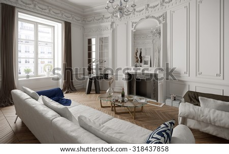 Victorian style living room with modern furniture - 3 d render using 3 d s Max - stock photo