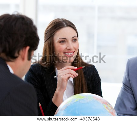 Victorious business team having a brainstorming about expansion in a company - stock photo