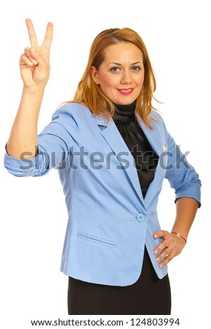 Victorious corporate woman isolated on white background - stock photo