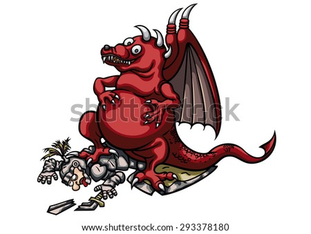Victorious Dragon and Wounded Knight. Illustration a cartoon triumphant dragon. He is standing on the fallen knight. - stock photo