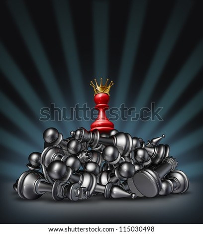 Victory and the winner as a success concept with a red chess pawn with a gold crown on top of a mountain of defeated competitors lying down against a black background with a star burst light. - stock photo