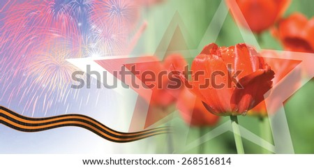 Victory Day Card With Red Tulips and fireworks. Russia - stock photo