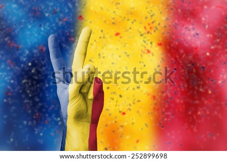 victory for Romania - stock photo