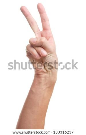 Victory hand sign isolated on white background