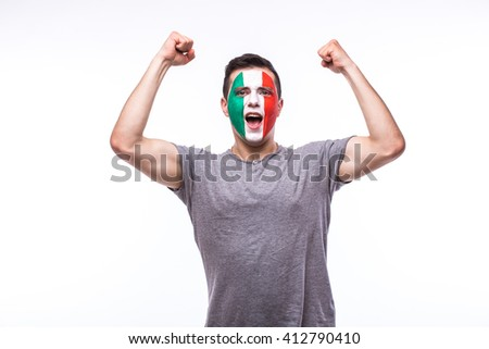 Victory, happy and goal scream emotions of Italian football fan in game support of Italy national team on white background. European football fans concept.