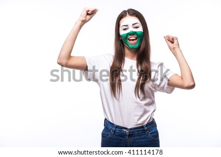 Victory, happy and goal scream emotions of Welsh football fan in game support of Wales national team on white background. European football fans concept.