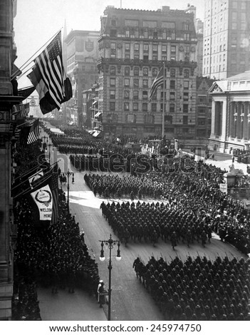Victory Parade in honor of returned fighters passing the Public Library, New York City. To honor General John J. Pershing and soldiers from the American Expeditionary Force, Sept. 10, 1919. - stock photo