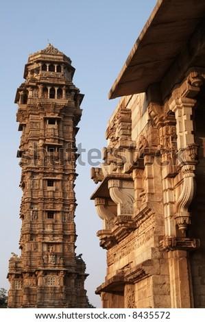 Victory Tower (Vijay Stambha) inside Chittaugarh Fort, Rajasthan - stock photo