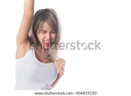 Victory young asian woman, excited woman, isolated on white background - stock photo