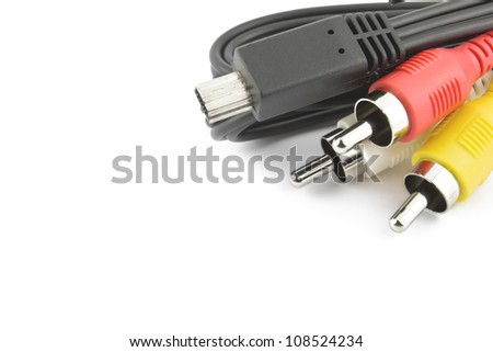 Video cables on white background - stock photo