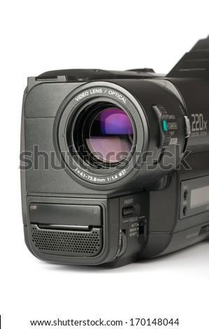 Video camera isolated on white. Closeup - stock photo