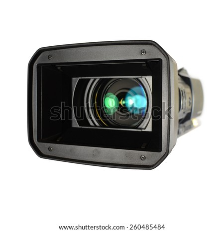 Video camera on white background - stock photo