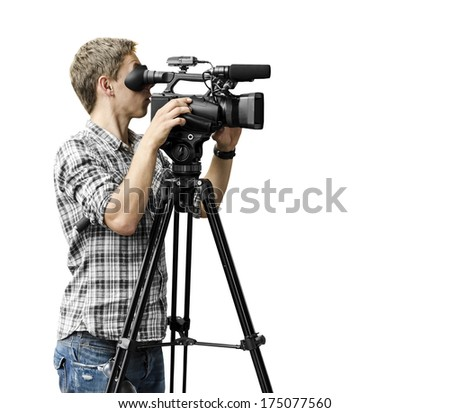 Video camera operator - stock photo