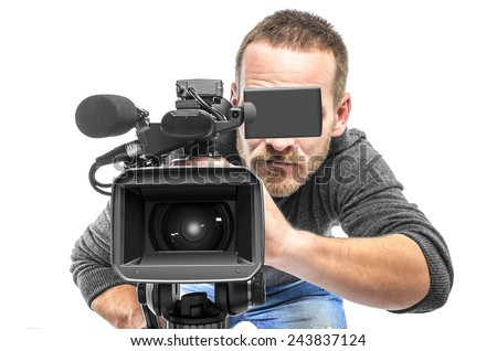 Video camera operator filmed. Isolated on white background. - stock photo