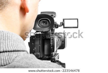 Video camera operator isolated on white background - stock photo
