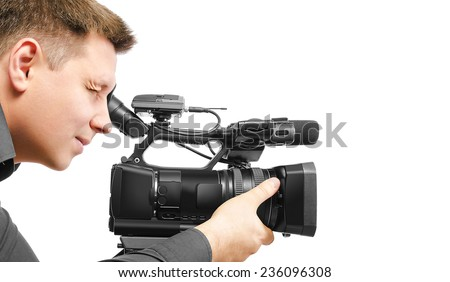 Video camera operator isolated on white background. - stock photo