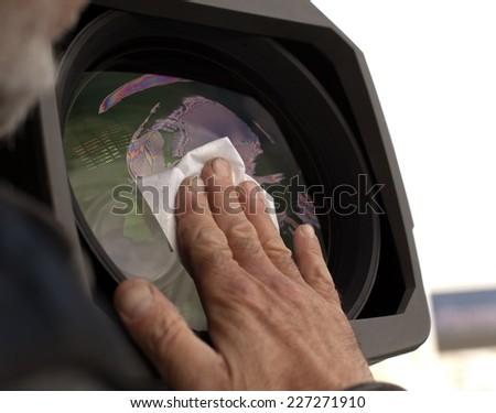 Video camera  TV Professional studio digital video camera - stock photo