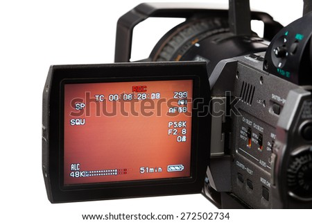 video camera with screen, isolated on white - stock photo