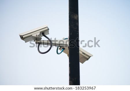 Video Cameras on Metal Pole