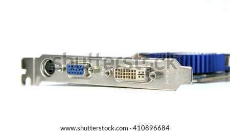 Video card with VGA and DVI connectors isolated on a white background