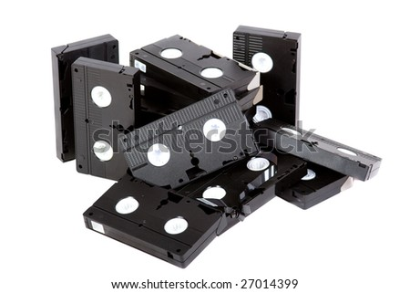 video cassette on white background - stock photo