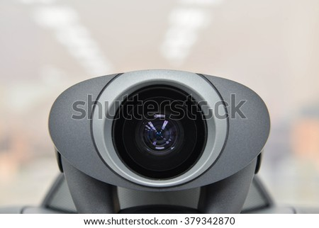 Video conference device for long distance meeting - stock photo