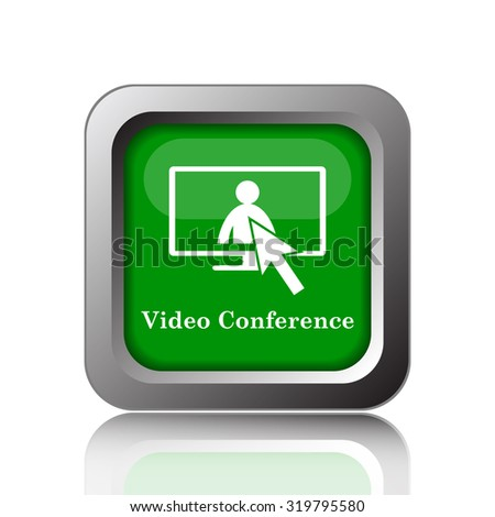 Video conference, online meeting icon. Internet button on black background.  - stock photo
