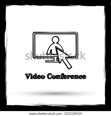 Video conference, online meeting icon. Internet button on white background. Outline design imitating paintbrush. - stock photo