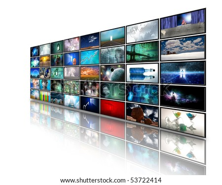 Video displays composed entirely of images created by me in addition all human figures were created by me with software and do not need a model release - stock photo