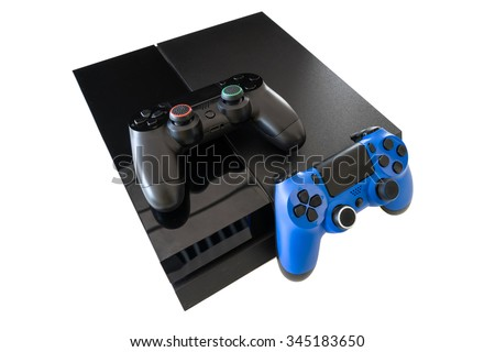 video game and wireless controller isolated on white background - stock photo