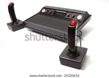 video game console on white background - stock photo