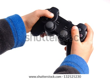 video game controler isolated in white - stock photo