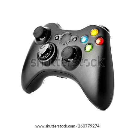 video game controller isolated on white background - stock photo