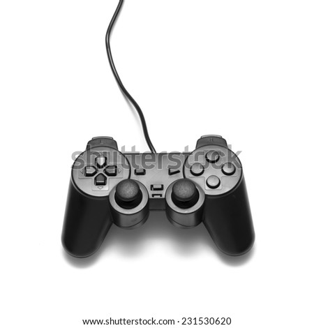 video game controller on a white background - stock photo