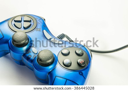 video game controller  on white background - stock photo